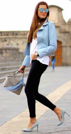 Pastel coloured leather + must have this season + matching sky blue heels + jacket + fresh and funky + summery feel + casual look + Marianela Hernández   Jacket: Shein, Jeans/T-Shirt/Heels: Zara, Bag: Michael Kors.