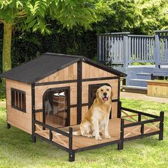 Shop for Pawhut Wood Raised Outdoor Weatherproof Rustic Log Cabin Style Pet Dog House. Get free delivery On EVERYTHING* Overstock - Your Online Dog Supplies Store! Contemporary Dog Houses, Modern Dog Houses, Pet Houses, Wood Dog House, Grande Niche, Dog Pen, Dog Furniture, Office Furniture, Dog Rooms