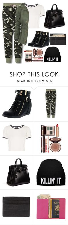 """""""Uptown Funk"""" by i-follow-back-always ❤ liked on Polyvore featuring Top Moda, Topshop, Charlotte Tilbury, Hermès, Emily Cho and Royce Leather"""