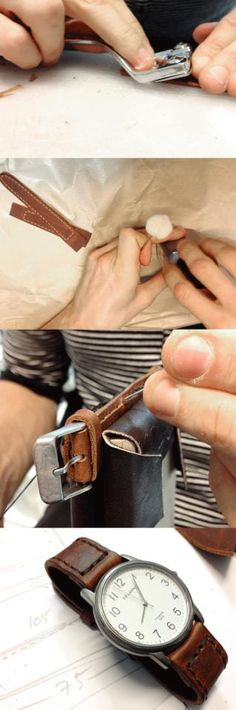 A handmade watch strap, being made, by Vormu. Watch Straps, Leather Working, Leather Craft, Watches, Wallet, Diy, Handmade, Crafts, Bags