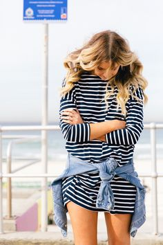 • hair fashion dress style blonde outfit beach fashion blog stripes Preppy Denim Jacket prep nautical striped they all hate us emeraldcitydreams •