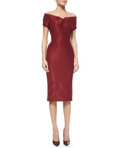 Off-The-Shoulder Cocktail Dress, Burgundy by Zac Posen at Neiman Marcus.
