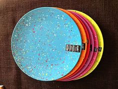 6pc Confetti Individual dinner Plates, Assorted Bright, By Zak Designs