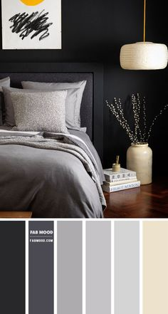 This bed linen collection is woven from a blend of cotton and linen yarns, giving you the best of both sleep ingredients. Its earthy... Charcoal Grey Bedrooms, Dark Gray Bedroom, Dark Bedroom Walls, Grey Colour Scheme Bedroom, Bedroom Wall Colors, Bedroom Decor, House Color Schemes, Home Room Design, Grey Bedding