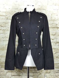 e2415764d7 Tripp NYC Black Military Colonial Zip Skull Jacket Coat Goth Steampunk  Cosplay S