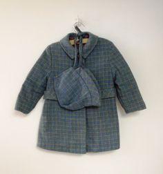 1940's Blue Plaid Coat and Bonnet Set