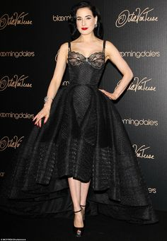 Dita Von Teese has long worn corset dresses to events, here seen at the launch for her lingerie collection at Bloomingdales