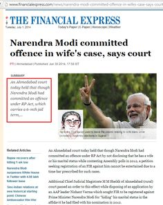 Due to time lapsed India's PM #Modi escapes FIR and 6 month Jail for offense of not revealing that he was married in all his Assembly Election affidavits  (the wife was abandoned, but not divorced shortly after marriage in 1968, and has since been living alone)