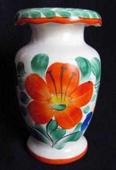 Vintage Ditmar Urbach Vase Czech Pottery Orange Handpainted Flowers