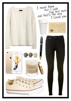 """#289 cream"" by xjet1998x ❤ liked on Polyvore featuring AG Adriano Goldschmied, Converse, Burberry and Fountain"