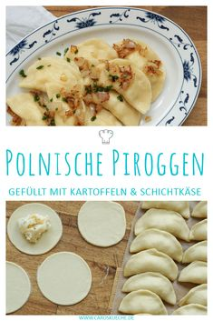 Polnische Piroggen Polish dumplings filled with potatoes and cream cheese Cheese Pierogi Recipe, Polish Dumplings, Polish Pierogi, Homemade Dumplings, Dumpling Recipe, Vegetable Dumplings, Steak Fajitas, Greek Recipes, Vegetarian