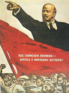 Dit is een propaganda uit de Russische revolutie. Je ziet hier mensen die ontevreden zijn. De leider is Lenin.