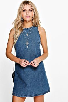 Buy Tab Side Denim Shift Dress with latest discounts. Discover similar SALE items! Tank Top Dress, Tee Dress, Jeans Dress, Blue Jean Dress, Trendy Dresses, Denim Dresses, Denim Ideas, Summer Dress Outfits, Different Dresses