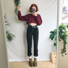 9b4208f624 Beautiful vintage high waisted forest green cord trousers by - Depop Cute  Fashion, Retro Fashion