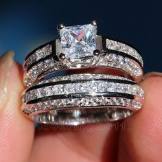 choucong Noble Princess cut Stone 5A Zircon stone 10KT White Gold Filled engagement Wedding Band Ring Set Sz 5-11 Gift