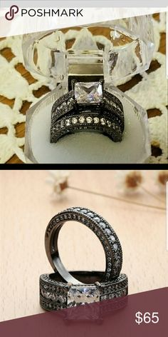 Valentines wedding Ring Black Gold Filled CZ 9 Valentines wedding Ring Black Gold Filled CZ 9 AprilsPlace Jewelry Rings