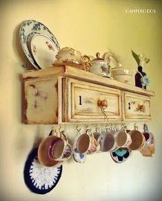 una hermosa idea Shabby Chic Kitchen, Vintage Shabby Chic, Shabby Chic Decor, Repurposed Furniture, Shabby Chic Furniture, Painted Furniture, Furniture Projects, Furniture Makeover, Home Furniture