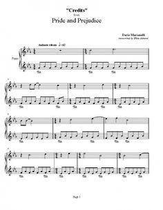 Pride and Prejudice - Credits - Sheet music | Piano Plateau Sheet Music