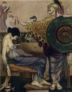 """""""The Odyssey of Homer"""" by William Russell Flint (1880-1970). Pictured: Athena and a sleeping Penelope (wife of Odysseus)."""