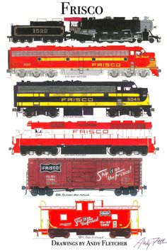 6 hand drawn Frisco drawings by Andy Fletcher Ho Trains, Model Trains, Train Drawing, Bnsf Railway, Train Posters, Railroad Photography, Train Pictures, Electric Train, Train Engines