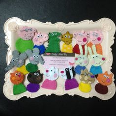 Christmas Stocking Stuffers - 16 pieces of Peppa Pig inspired Felt Finger Puppets Family & Friends Gift Set plus Mr Dinosaur and Teddy Bear by CraftyMamiPig on Etsy