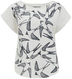 People Tree Swallows Print T-Shirt - Eco White - People Tree