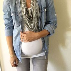 Pair your favorite fall styles like a denim shirt, grey #maternity jeans & a staple white tee for a casual and comfy outfit. Click the link in the bio to recreate this look. Thanks for the #maternitystyle inspiration, @inmyclosetblog! #40weeksofchic #maternitystyle #maternityfashion #fallfashion #fallstyle #denimshirt #ootd #casual #regram: @inmyclosetblog