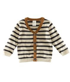 Knitting Sweter For Men Baby Boy Trendy Ideas Baby Boy Cardigan, V Neck Cardigan, Brown Cardigan, Striped Cardigan, Knit Cardigan, Baby Outfits, Kids Outfits, H&m Baby, Baby Kind