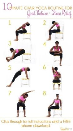 10 Minute Chair Yoga Routine for Good Posture and Stress Relief | Once you're done with this routine, you'll feel some of the pent up stress in your muscles from sitting down melt away and you'll be ready get some more work done! Click through for a FREE by therese