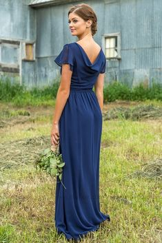 Long Sheer Classy Navy Bridesmaid Dress for Country Wedding Bridesmaid Dresses With Sleeves, Prom Dresses With Pockets, Bridesmaid Dresses Online, Boho Wedding Dress, Wedding Dresses, Affordable Dresses, Dresses For Teens, Clothes For Women, Draping