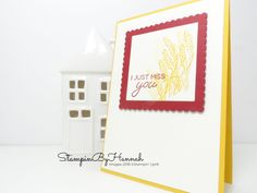 Pretty Autumn Miss you card using Blended Seasons from Stampin' Up! I Just Miss You, Miss You Cards, Stampin Up, Seasons, Pretty, Frame, Autumn, Colour, Inspiration