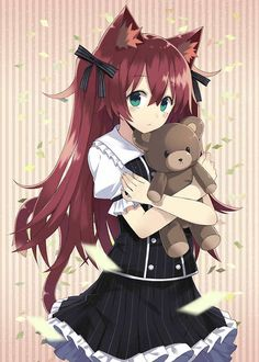 ✮ ANIME ART ✮ neko. . .cat girl. . .cat ears. . .cat tail. . .dress. . .buttons. . .ruffles. . .long hair. . .ribbons. . .teddy bear. . .cute. . .shy. . .kawaii