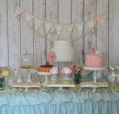 Shabby Chic, Personalized, Aqua and Pink, Vintage Garden Tea Party Baby Shower/1st Birthday - Digital Printables (DIY Full Party Package). $27.50, via Etsy.
