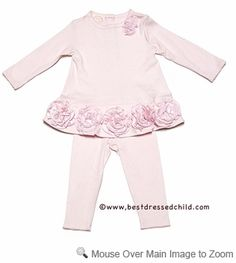 Baby Biscotti Infant Girls Pink Couture Cute Dress with Big Flower Hem & Leggings