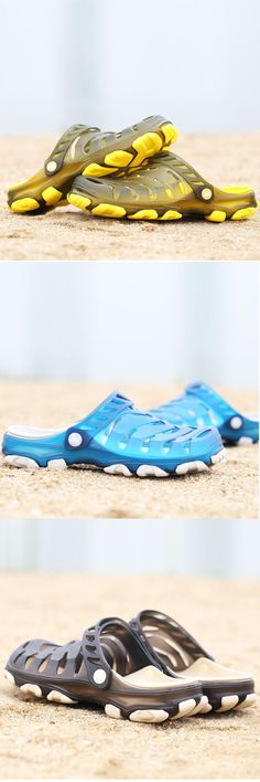 f5a38dbc3ed71f US 17.60 Men Hole Breathable Soft Beach Sandals Light Waterproof Shoes  Chaussures En Plastique