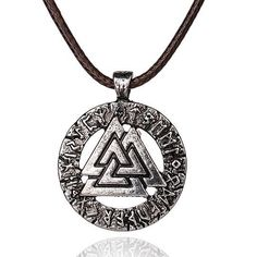 A classic nordic style viking necklace with a rope chain. Necklace features the Valknut and the viking runes. #viking #necklace http://ift.tt/2AfL3o6