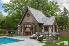 Complementing a new English Tudor, this pool house designed by Douglas VanderHorn Architects fits seamlessly into a historic Olmsted-designed neighborhood of similar style homes in Greenwich, Connecticut. Pool Cabana, My Pool, Tudor House Exterior, Pool House Designs, Tudor Style Homes, Pool Houses, Architect Design, The Ranch, Patio Design