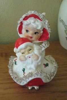 HTF Vintage Norcrest Christmas Shopper Spagetti Girl with Santa Face Figurine 65