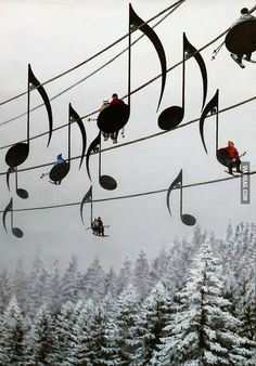 Musical ski lifts, Jara Mt., France.