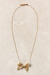 Gold Bow Necklace | AllFreeJewelryMaking.com
