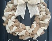 Burlap Wreath - Natural Burlap, Ivory, Welcome Door Wreath Rustic Country Shabby Chic