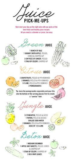 Juice Pick-Me-Ups - Green Juice: 1 bunch of Kale, 1 Granny Smith Apple, 3 cm piece of ginger, & 1 stalk of celery. Citrus Juice: 2 Grapefruits, 2 Oranges, 1/2 a Lime & 2 Pomegranates. Jungle Juice: 1/2 Pineapple, 1 Papaya, Chilled Soda Water, 2 Oranges and 1/2 a Lime. Detox Juice: 1 Cucumber, 1 Apple, 1 stalk of celery & 5 or 6 Mint Leaves.. by Alice Knox