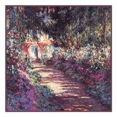 The Garden in Flower in Giverny inspired by Claude Monet's impressionist painting Counted Cross Stitch or Counted Needlepoint Pattern