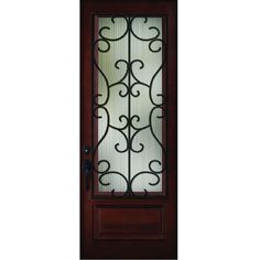 Steves & Sons 36 in. x 80 in. Decorative Iron Grille 3/4- Lite Stained Mahogany Wood Prehung Front Door,
