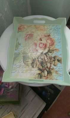 Yeni tepsim Decoupage, Pintura Country, Trays, Techno, Decorative Boxes, Photo Wall, Diy, Scrappy Quilts, Painted Trays