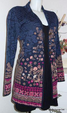 KOOI Knit Long-Strick-Jacke Blumen iv-ko 14109 navy pattern blau капут пальто́ | eBay Kos, Knitwear, Sweaters For Women, Navy, Knitting, Floral, Pattern, Jackets, Blue