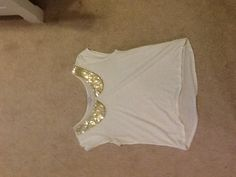 Gold and cream Delia's Peter Pan collared shirt.