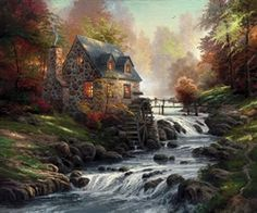 """""""Cobblestone Mill"""" reminds us that all blessings flow timelessly from the hand of God. ~ Thomas Kinkade. October 2002 - Thomas Kinkade"""