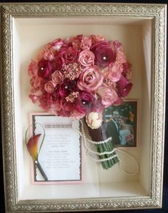Use a shadow box to keep your bouquet, invitation, pictures, etc. from wedding day.