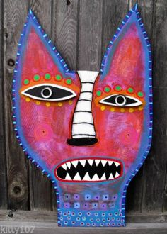 Tracey Ann Finley Original Outsider Folk Art Wood Cat Cut Out Collage Painting..pretty Kewl Kat!